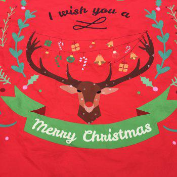 Merry Christmas Reindeer Olive Branch Round Beach Throw - RED RED