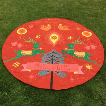 Two Christmas Reindeers Round Beach Throw - RED RED