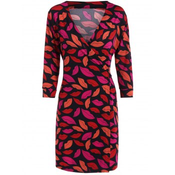 Plunge Neck Red Lip Print Wrap Dress