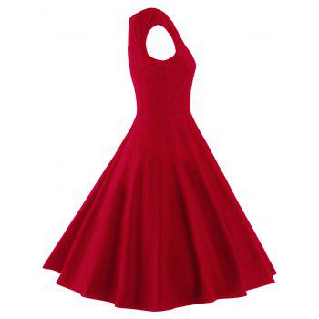 A Line Puffer Cap Sleep Plain Prom Dress - RED RED