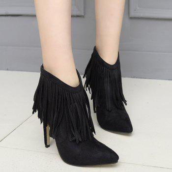 Pointed Toe Stiletto Heel Fringe Ankle Boots