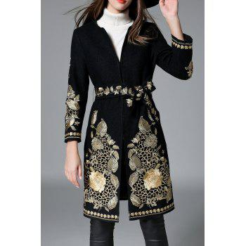 Floral Embroidered Belted Coat