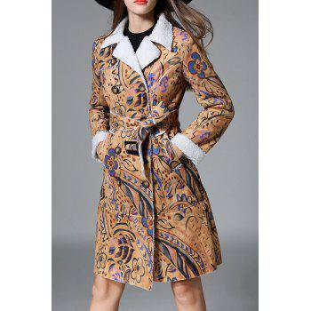 Twin Pocket Double Breasted Print Suede Coat