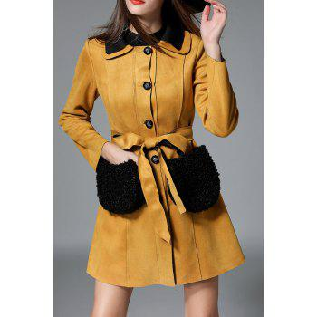 Single Breasted Faux Fur Pocket Suede Coat
