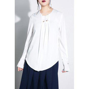 Faux Pearl Long Sleeve Chiffon Blouse