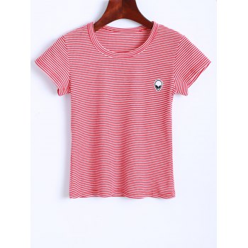Alien Embroidered Striped Cropped T-Shirt