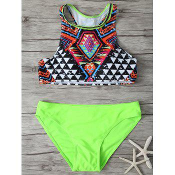 Geometric Print Racerback High Neck Bikini Set