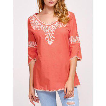 Fall Ethnic Embroidery Covered Edge T-Shirt