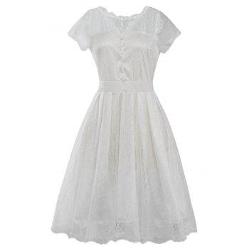Funky Short Wedding A Line Dress With Sleeves - WHITE WHITE