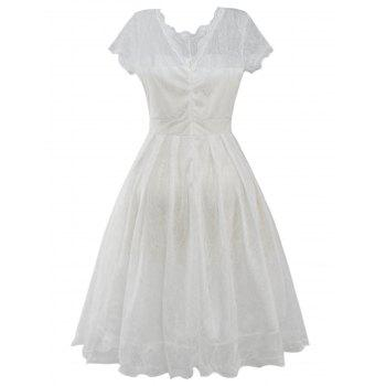 Funky Short Wedding A Line Dress With Sleeves - WHITE 2XL