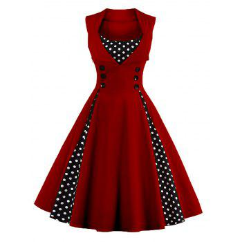Midi Polka Dot Prom Rockabilly Swing Dress Vintage Prom Dresses