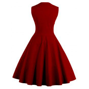 Midi Polka Dot Prom Rockabilly Swing Vintage Prom Dresses - WINE RED M