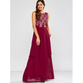 Lace Panel Chiffon Maxi Evening Formal Bridesmaid Prom Dress - WINE RED 2XL