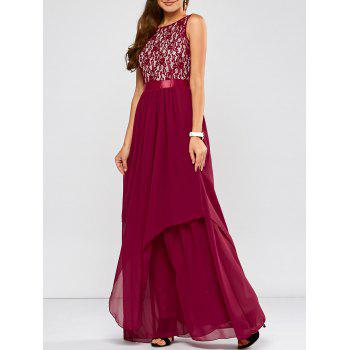 Lace Panel Chiffon Formal Bridesmaid Prom Dress