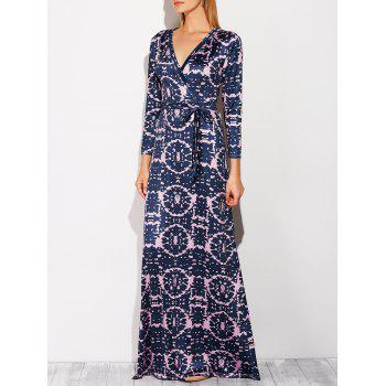 Maxi Surplice Long Printed Prom Dress with Sleeves