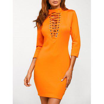 Mock Neck Lace Up Bodycon Dress