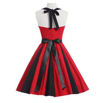 Retro Polka Dot Party Halter Swing A Line Dress - RED RED