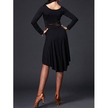 Mesh Insert Asymmetrical Dance Dress - BLACK 2XL