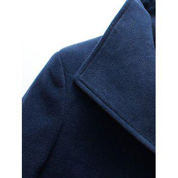 Flap Pocket Button Up Wool Mix Coat - BLACK XL