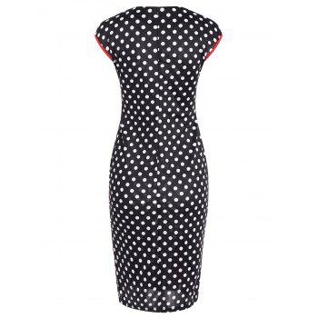 Contrast Trim Polka Dot Mermaid Dress - WHITE/BLACK M