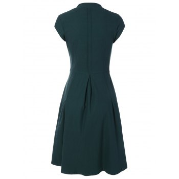 Summer Ruched Chest Swing Dress - BLACKISH GREEN XL