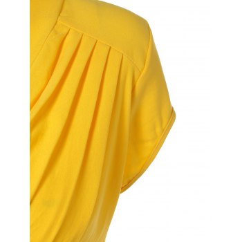 Summer Ruched Chest Swing Dress - YELLOW S