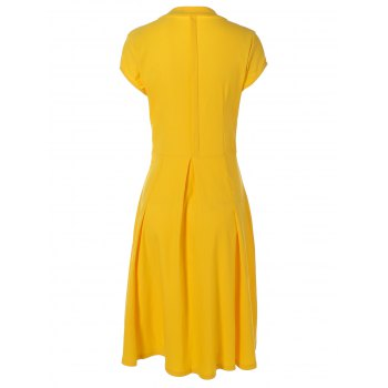 Summer Ruched Chest Swing Dress - YELLOW 2XL