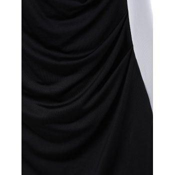 Color Block Panel Dress - WHITE/BLACK 4XL