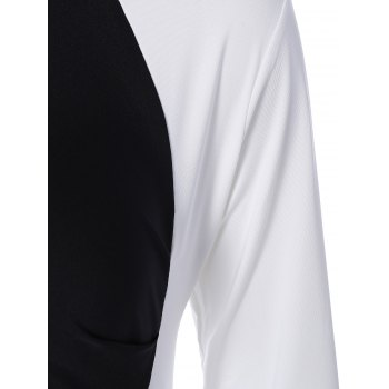 Color Block Panel Dress - WHITE/BLACK 5XL