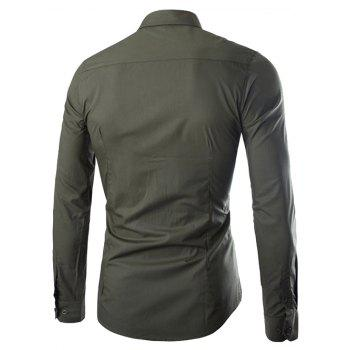 Shirt Collar Single Breasted Long Sleeve Shirt - ARMY GREEN 2XL