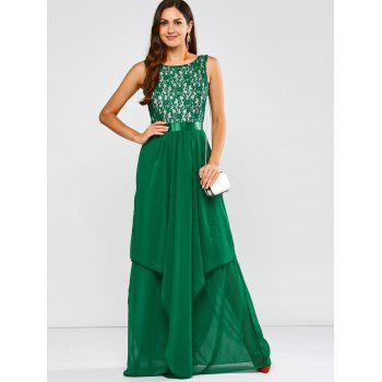 Lace Panel Chiffon Maxi Evening Engagement Prom Dress - GREEN S