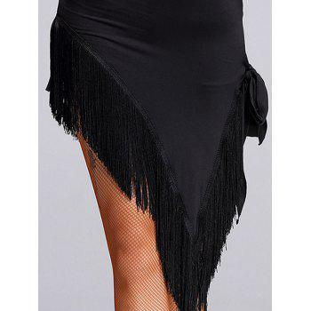 Asymmetrical Mesh Insert Fringed Dance Dress - BLACK M