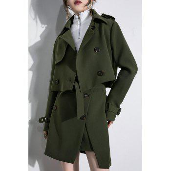 Short Coat With A Line Skirt - ARMY GREEN L