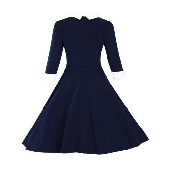 Paneled Color Block Swing Dress - PURPLISH BLUE L