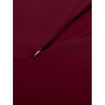 Paneled Color Block Swing Dress - WINE RED M