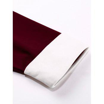 Robe trapèze en lambris de couleurs - Rouge vineux XL