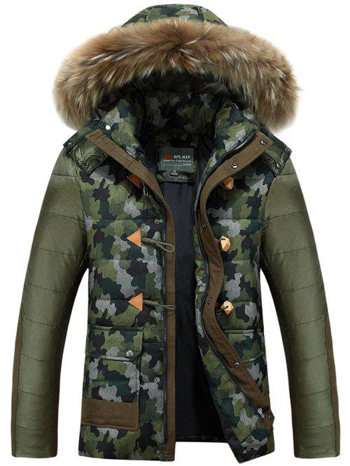Buy Faux Fur Hooded Camo Insert Padded Jacket ARMY GREEN