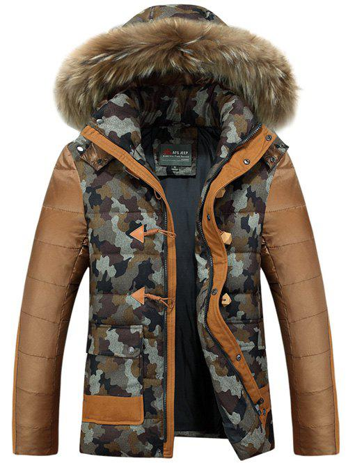 Faux Fur Hooded Camo Insert Padded Jacket camo insert faux fur trim denim jacket