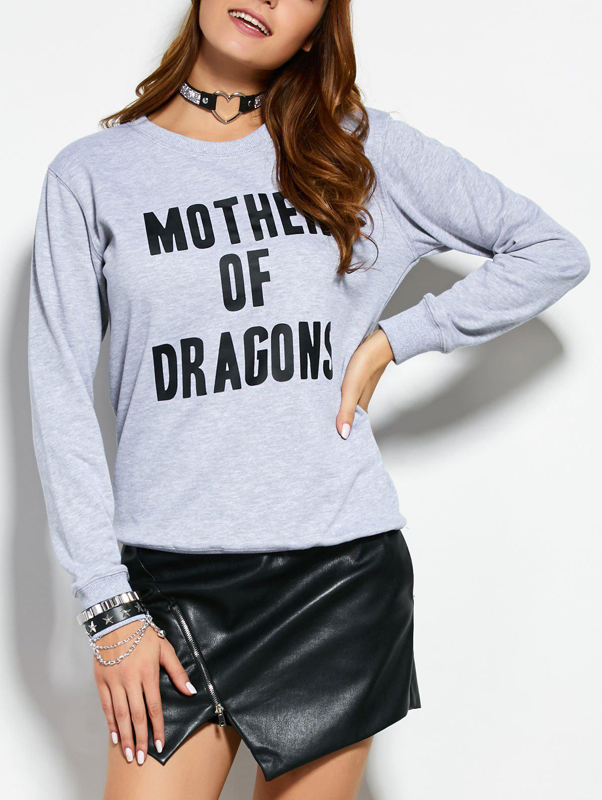 Text Graphic SweatshirtWomen<br><br><br>Size: L<br>Color: GRAY