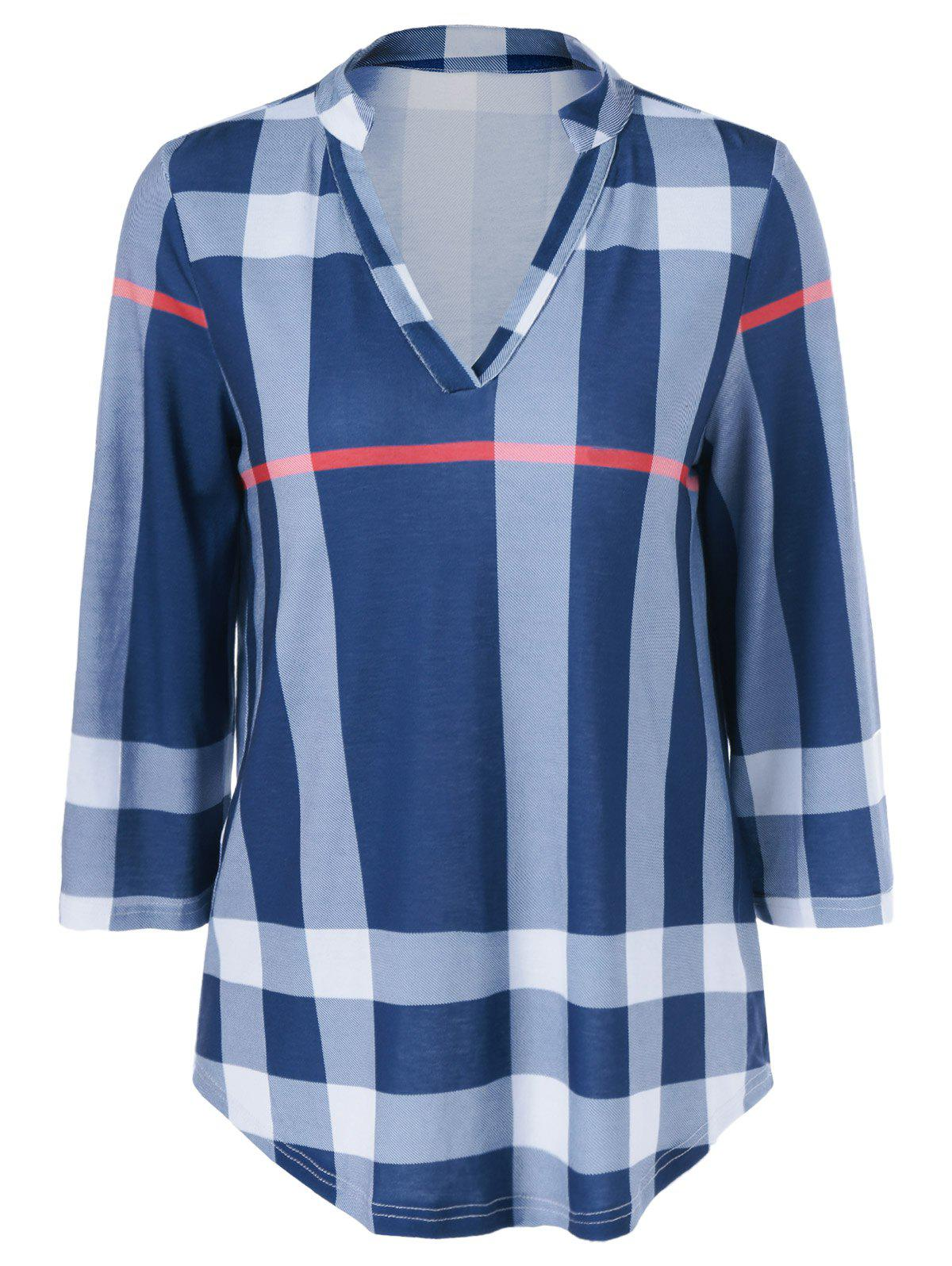 Arc Shaped Hem Plaid Blouse ada instruments phantom 2d