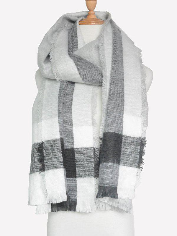 Outdoor Check Pattern Fringed Shawl Scarf - GRAY