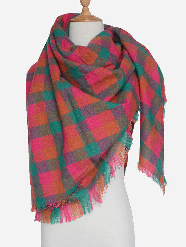 Outdoor Plaid Pattern Fringed ScarfAccessories<br><br><br>Color: JACINTH