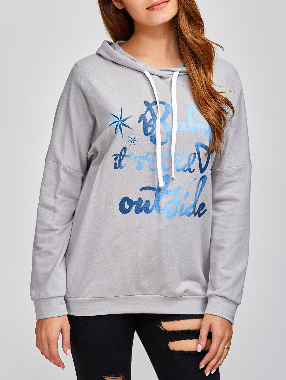 Drop Shoulder Letter Print Hoodie - GRAY M