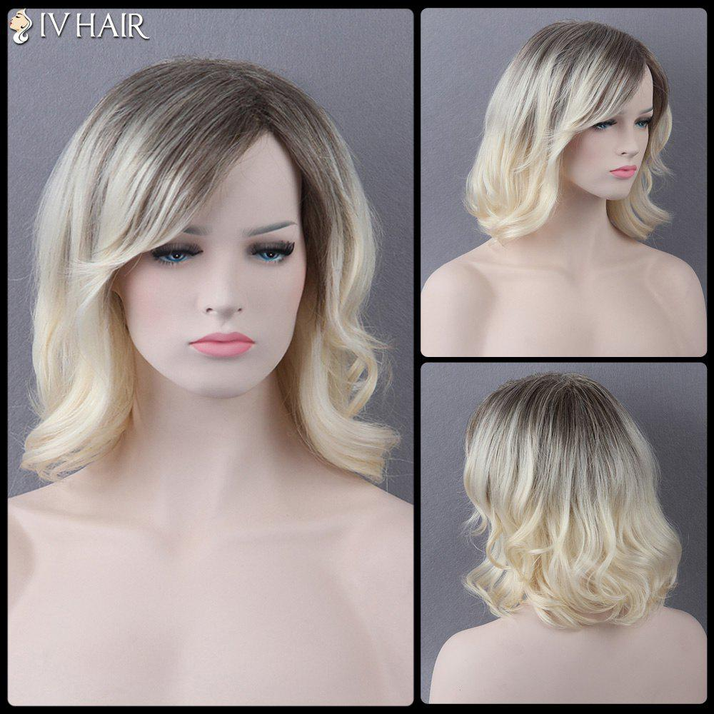 Medium Side Bang Slightly Curled Mixed Color Siv Human Hair Wig