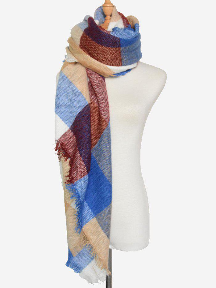 Outdoor Big Plaid Pattern Fringed Square Scarf fringed plaid doodle scarf