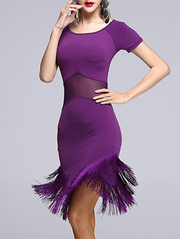 Mesh Insert Fringed Asymmetrical Dance Dress - PURPLE 2XL