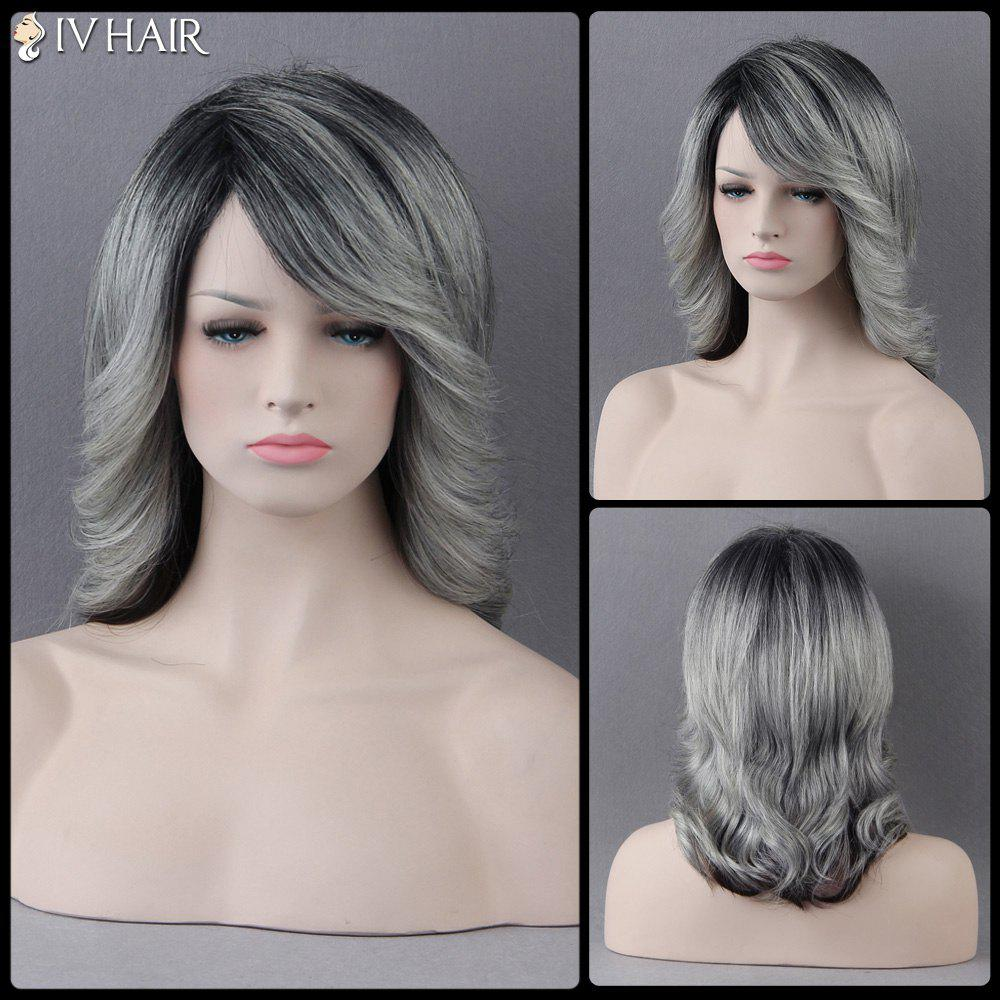 Medium Slightly Curled Mixed Color Side Bang Siv Human Hair Wig