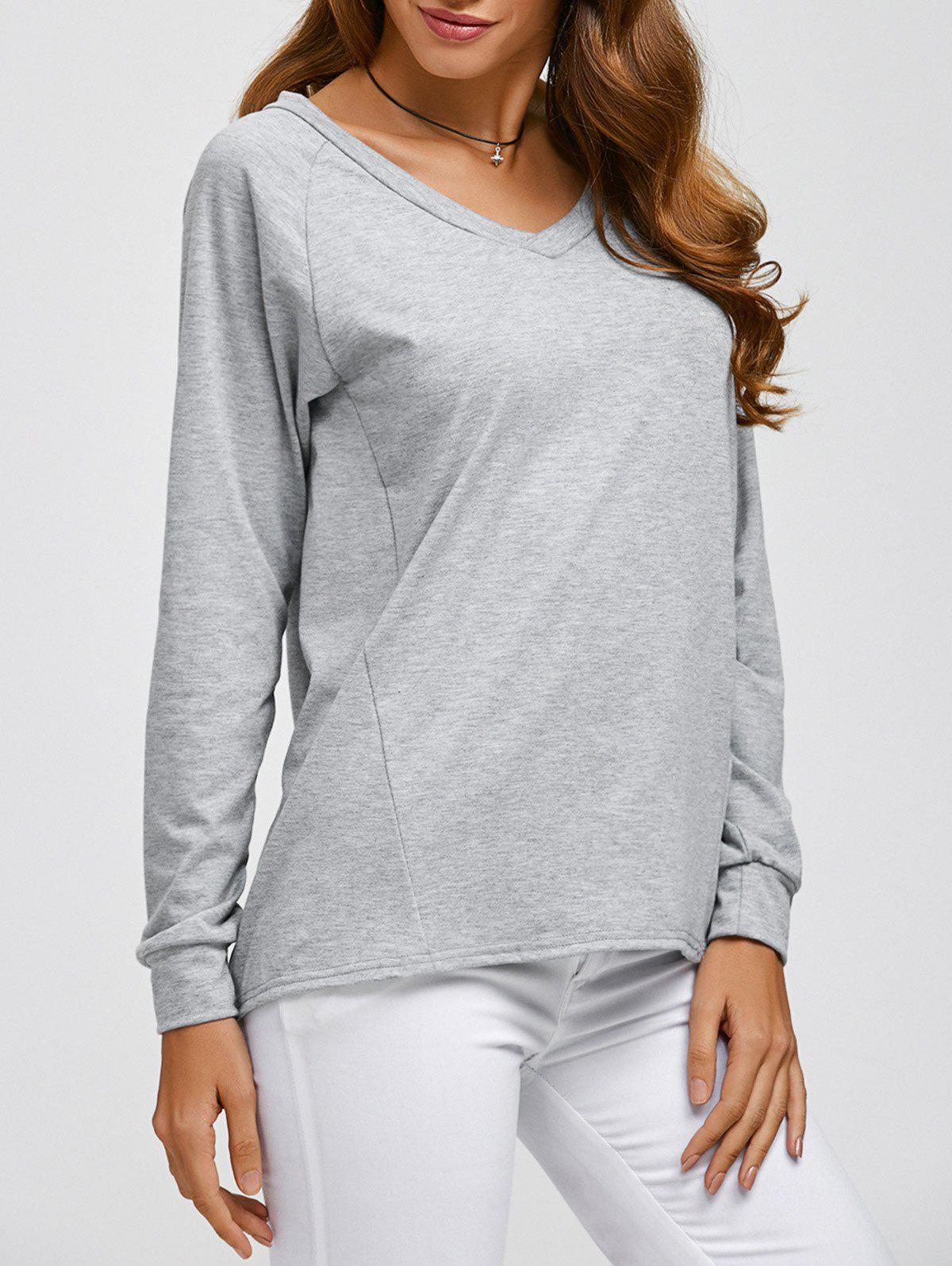 Comfy V Neck Long Sleeve T-Shirt - GRAY S