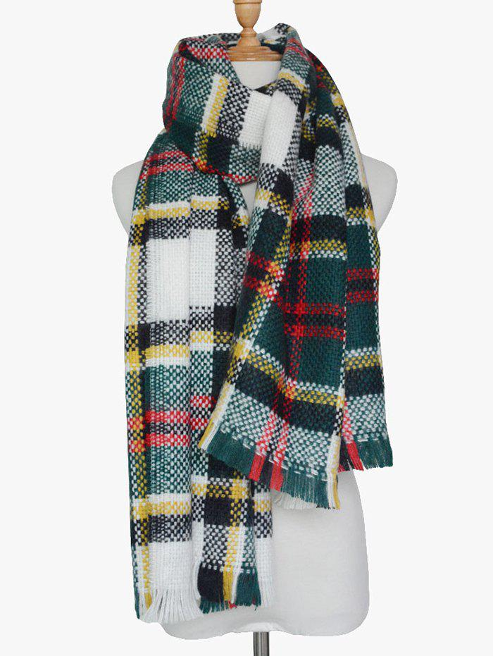 Winter Plaid Print Woven Fringed Scarf fringed plaid doodle scarf
