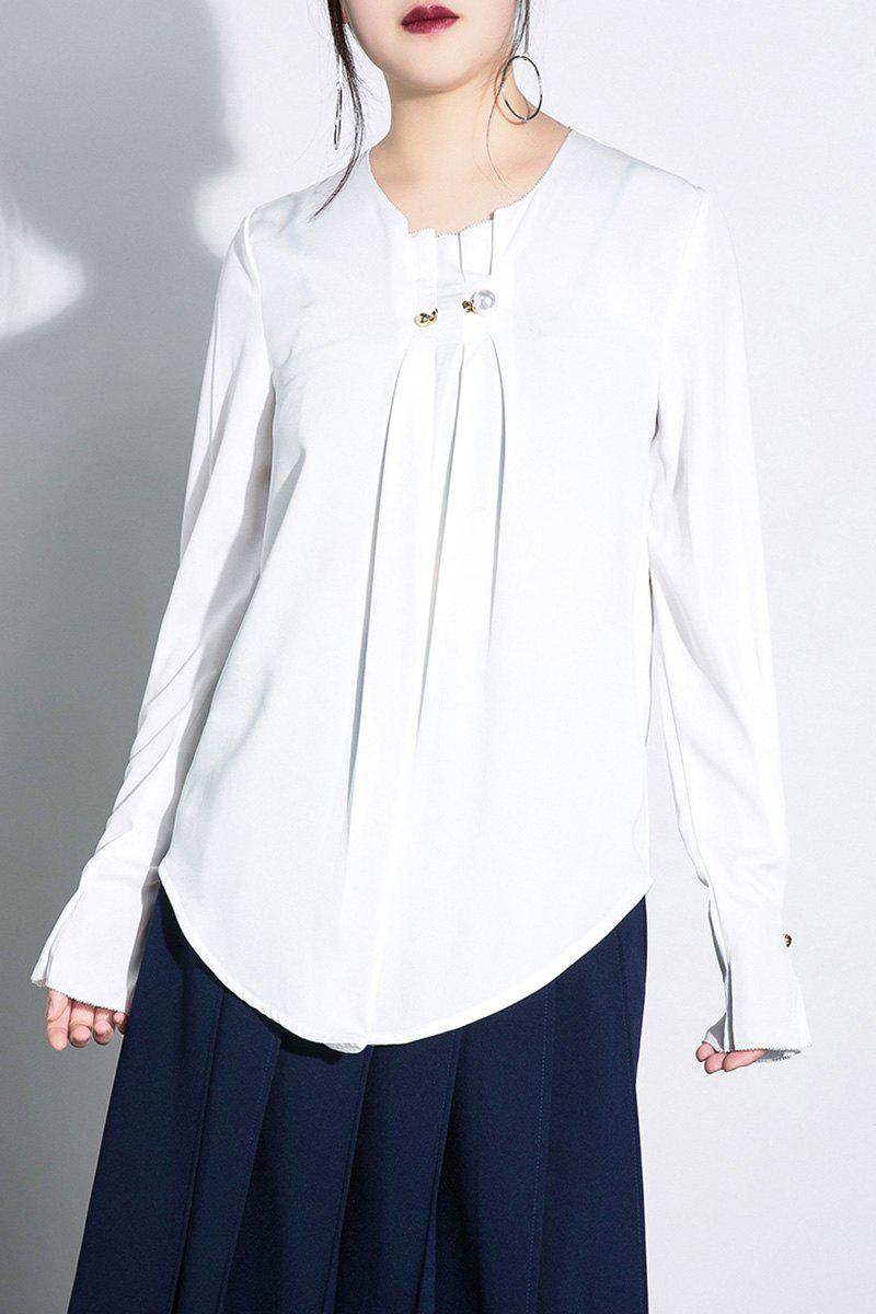 Faux Pearl Long Sleeve Chiffon Blouse - WHITE S